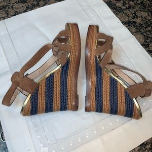 Flawless 7 For All Mankind Blue & Tan Wedge Heels